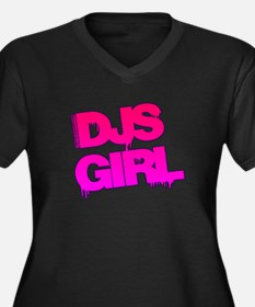 DJs Girl Women's Plus Size V-Neck Dark T-Shirt