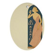 Vintage Champagne Art Ornament (Oval)