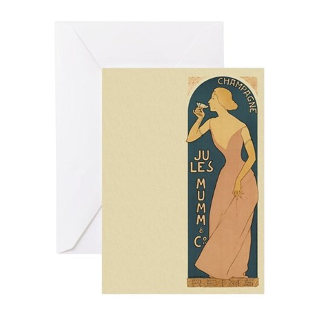 Vintage Champagne Art Greeting Cards (Pk of 10)