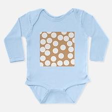 Dot Pattern, Brown. Long Sleeve Infant Bodysuit