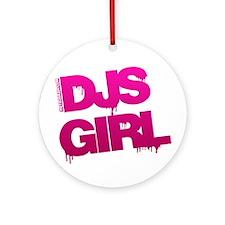 DJs Girl Pink Ornament (Round)