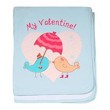 My Valentine Love Birds baby blanket
