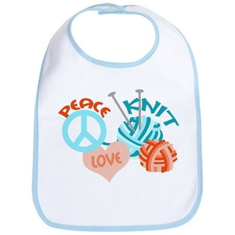 Peace Love Knit Bib