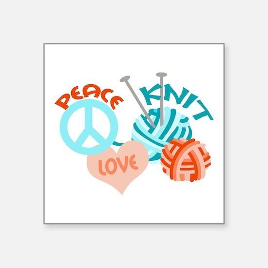 "Peace Love Knit Square Sticker 3"" x 3"""