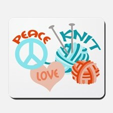 Peace Love Knit Mousepad