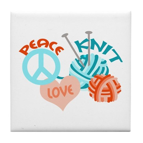 Peace Love Knit Tile Coaster