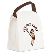 Girls Lacrosse Red Canvas Lunch Bag