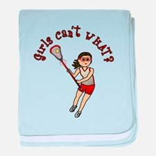 Girls Lacrosse Red baby blanket
