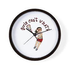 Girls Lacrosse Red Wall Clock