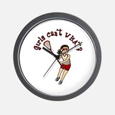 Girls Lacrosse Red Wall Clock