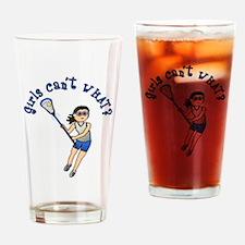 Girls Lacrosse Blue Drinking Glass