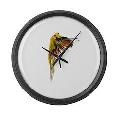 Sun Conure in flight Steve Duncan Large Wall Clock