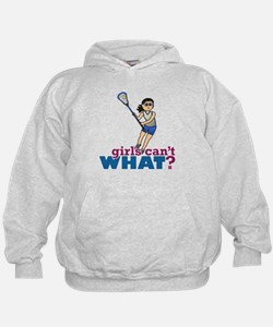 Girl Lacrosse Player in Blue Hoodie
