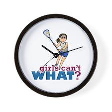 Girl Lacrosse Player in Blue Wall Clock