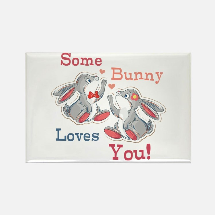 Some Bunny Loves You Rectangle Magnet (100 pack)