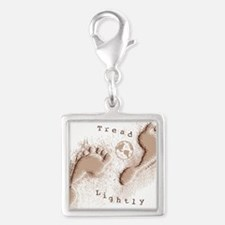 Tread Lightly Silver Square Charm