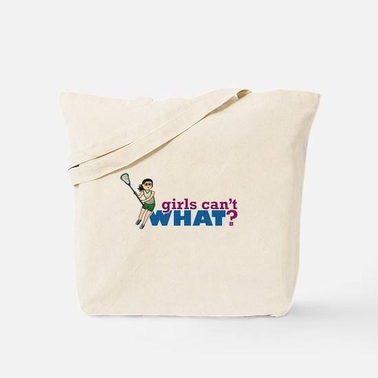Girl Lacrosse Player Green Uniform Tote Bag