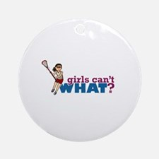 Girl Lacrosse Player Red Uniform Ornament (Round)