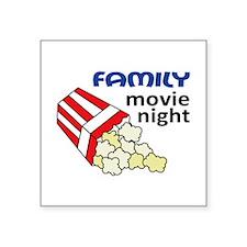 "Family Movie Night Square Sticker 3"" x 3"""
