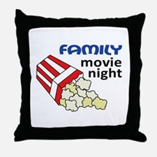 Family Movie Night Throw Pillow