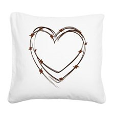 Barbed Wire Heart Square Canvas Pillow