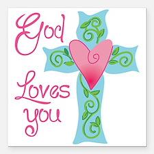 """God Loves You Square Car Magnet 3"""" x 3"""""""
