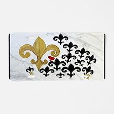 Fleur de lis black and gold Aluminum License Plate