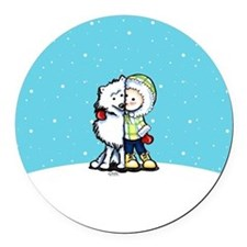 Eskimo Kisses Round Car Magnet