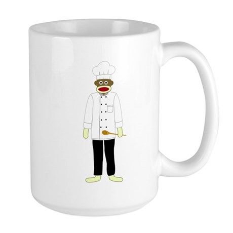 Sock Monkey Chef Large Coffee Mug