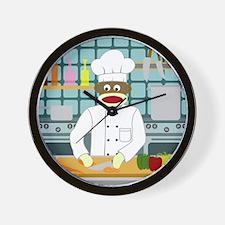 Sock Monkey Chef Wall Clock