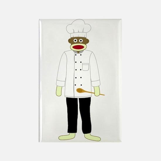 Sock Monkey Chef Rectangle Magnet
