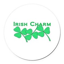 Irish Charm Dotted Shamrock Round Car Magnet
