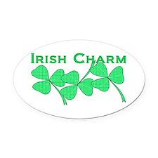 Irish Charm Dotted Shamrock Oval Car Magnet