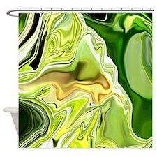 """""""Green Leek Abstract"""" Shower Curtain"""