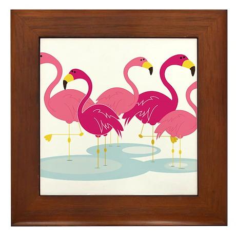 Flamingos Framed Tile