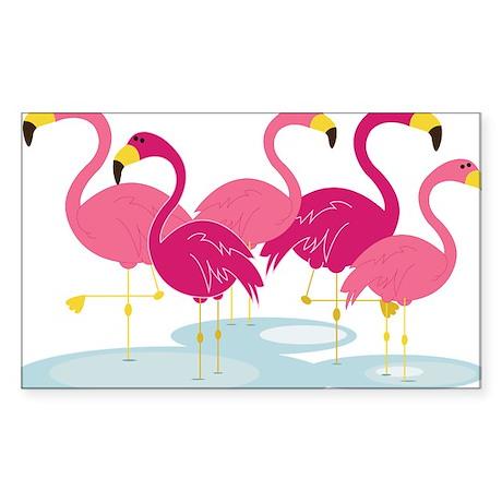 Flamingos Sticker (Rectangle)