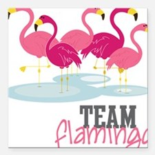 "Team Flamingo Square Car Magnet 3"" x 3"""