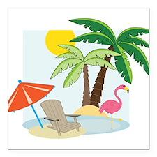 """Summer Beach Square Car Magnet 3"""" x 3"""""""