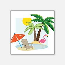 "Summer Beach Square Sticker 3"" x 3"""