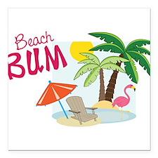 "Beach Bum Square Car Magnet 3"" x 3"""