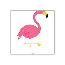 "Pink Flamingo Square Sticker 3"" x 3"""