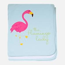 The Flamingo Lady baby blanket