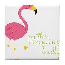 The Flamingo Lady Tile Coaster