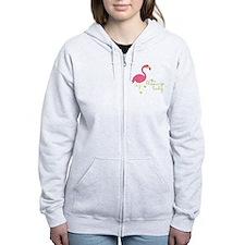 The Flamingo Lady Zip Hoodie