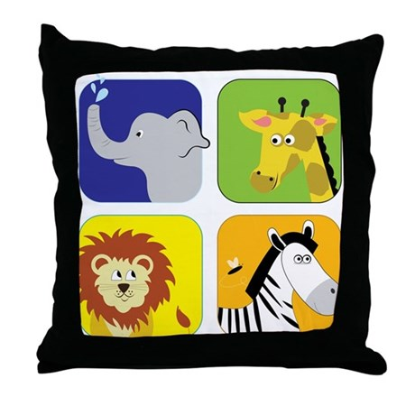 Zoo Animals Throw Pillow by listing-store-71974099