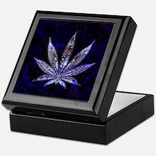 Blue Leaf Montage Keepsake Box