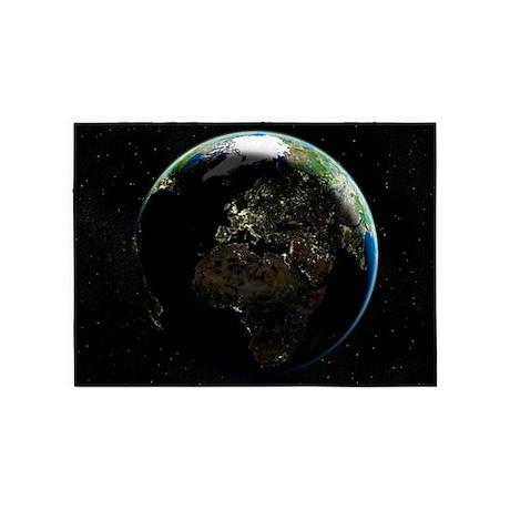 Europe at night, satellite image - 5'x7' Area Rug