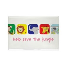Save The Jungle Rectangle Magnet