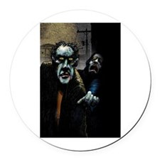 Zombie Next Door Round Car Magnet