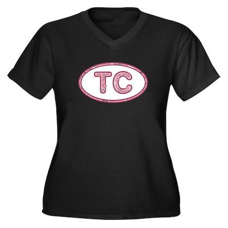 TC Pink Women's Plus Size V-Neck Dark T-Shirt